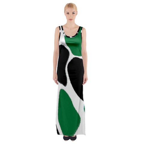 Green Black Digital Pattern Art Maxi Thigh Split Dress