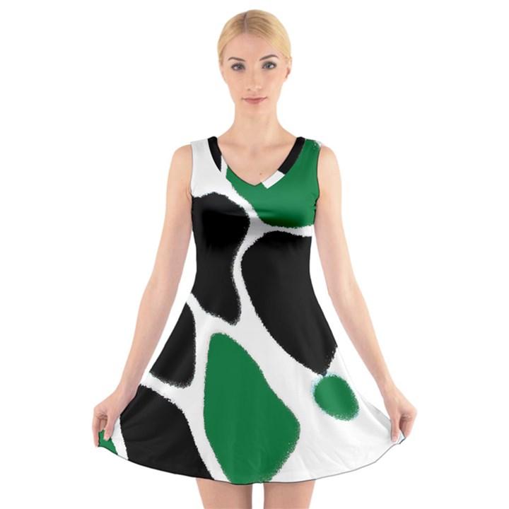 Green Black Digital Pattern Art V-Neck Sleeveless Skater Dress