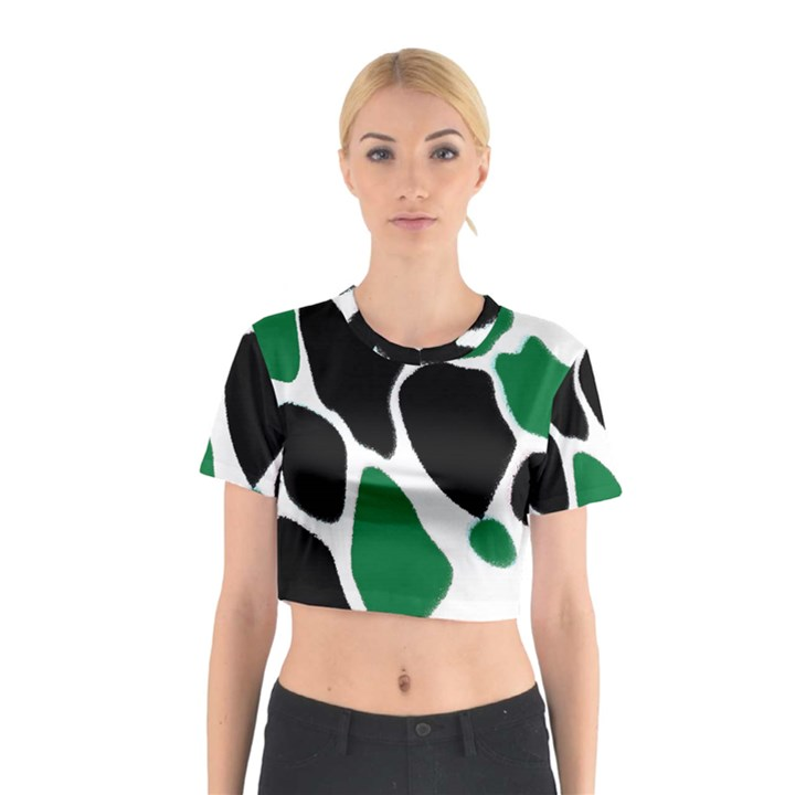 Green Black Digital Pattern Art Cotton Crop Top