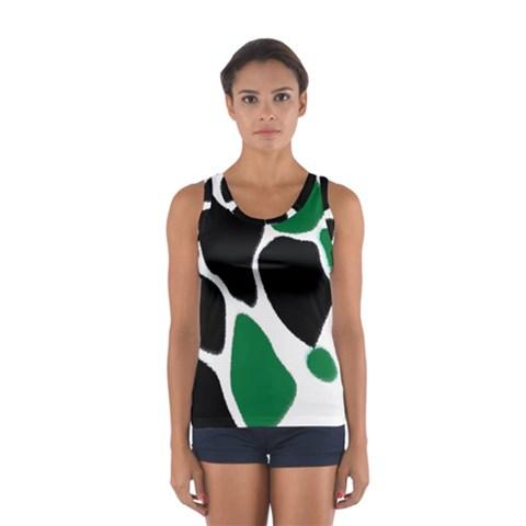 Green Black Digital Pattern Art Women s Sport Tank Top