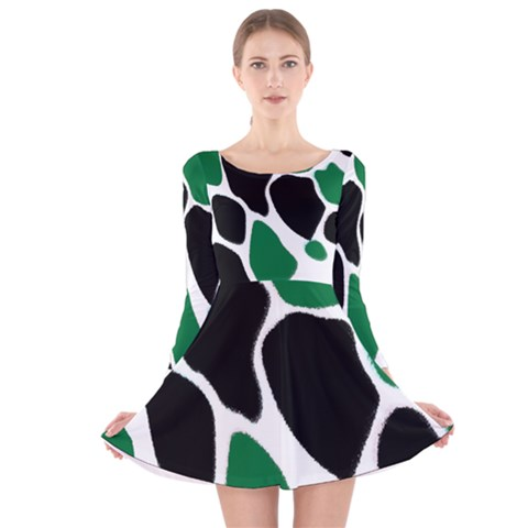 Green Black Digital Pattern Art Long Sleeve Velvet Skater Dress