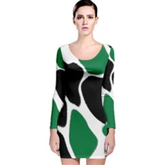 Green Black Digital Pattern Art Long Sleeve Velvet Bodycon Dress