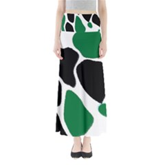Green Black Digital Pattern Art Maxi Skirts