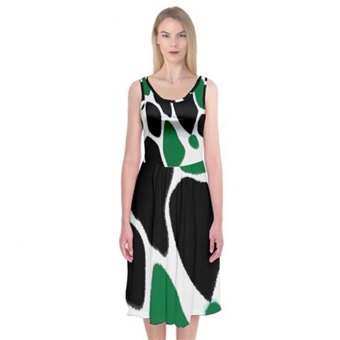 Green Black Digital Pattern Art Midi Sleeveless Dress