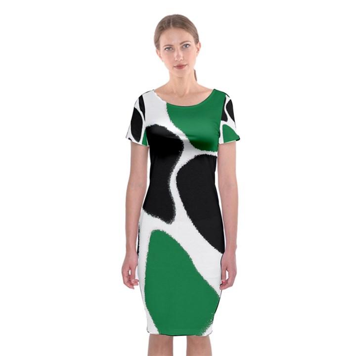 Green Black Digital Pattern Art Classic Short Sleeve Midi Dress