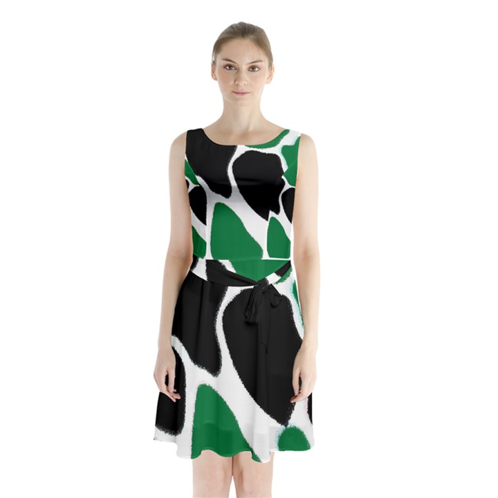 Green Black Digital Pattern Art Sleeveless Chiffon Waist Tie Dress