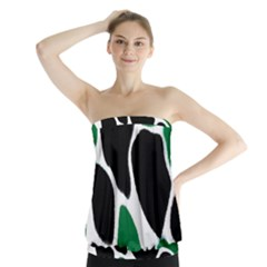 Green Black Digital Pattern Art Strapless Top
