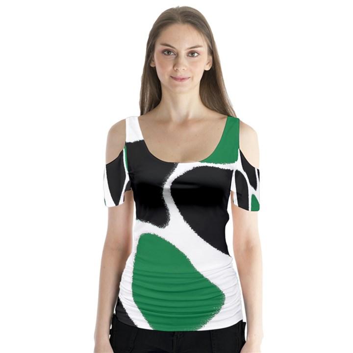 Green Black Digital Pattern Art Butterfly Sleeve Cutout Tee