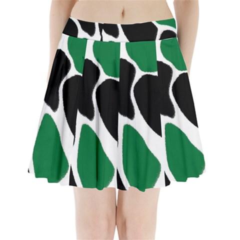 Green Black Digital Pattern Art Pleated Mini Skirt