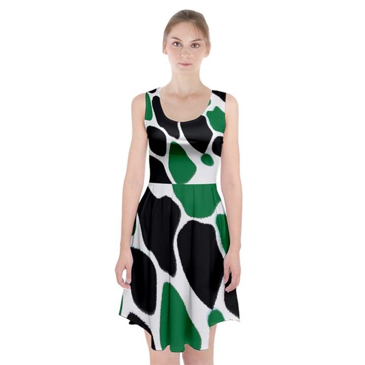 Green Black Digital Pattern Art Racerback Midi Dress