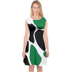 Green Black Digital Pattern Art Capsleeve Midi Dress