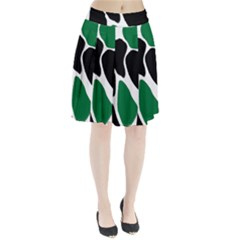 Green Black Digital Pattern Art Pleated Skirt