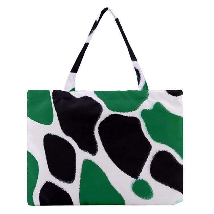 Green Black Digital Pattern Art Medium Zipper Tote Bag