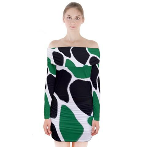 Green Black Digital Pattern Art Long Sleeve Off Shoulder Dress