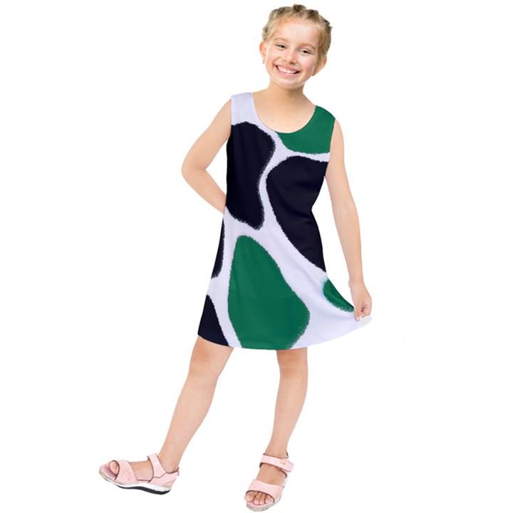 Green Black Digital Pattern Art Kids  Tunic Dress