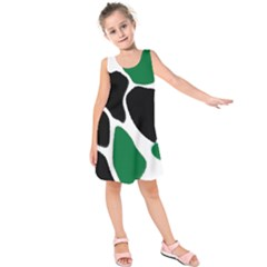Green Black Digital Pattern Art Kids  Sleeveless Dress