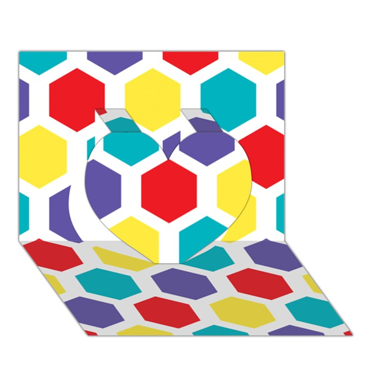 Hexagon Pattern  Heart 3D Greeting Card (7x5)
