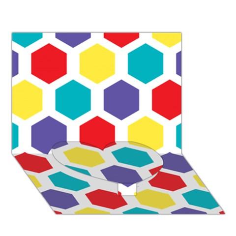 Hexagon Pattern  Heart Bottom 3D Greeting Card (7x5)