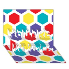Hexagon Pattern  YOU ARE INVITED 3D Greeting Card (7x5)