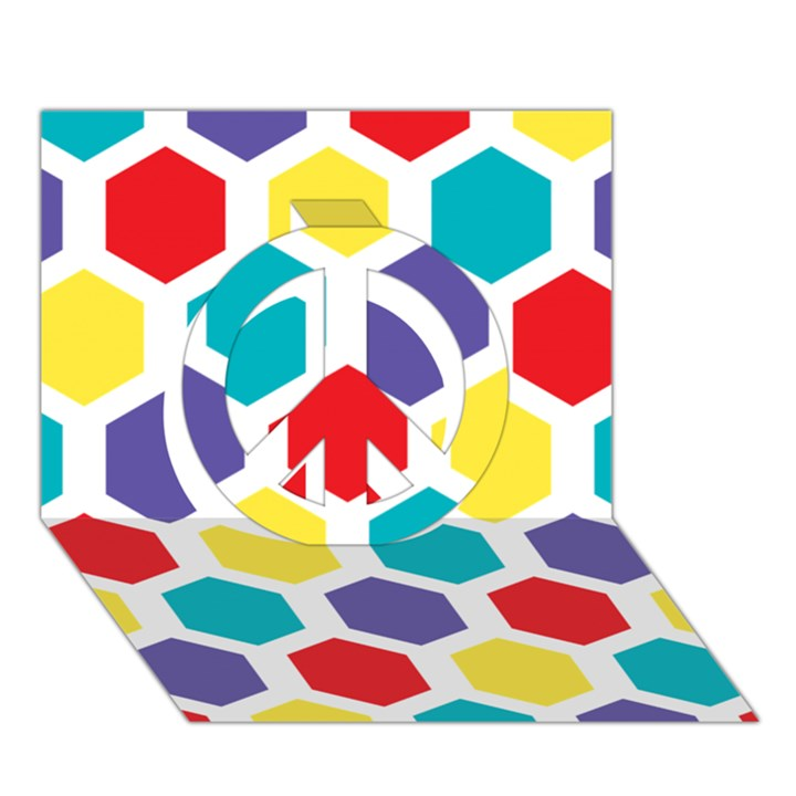 Hexagon Pattern  Peace Sign 3D Greeting Card (7x5)