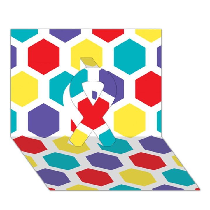 Hexagon Pattern  Ribbon 3D Greeting Card (7x5)