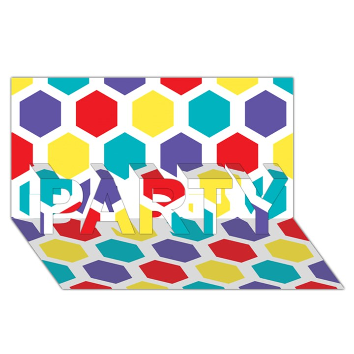 Hexagon Pattern  PARTY 3D Greeting Card (8x4)