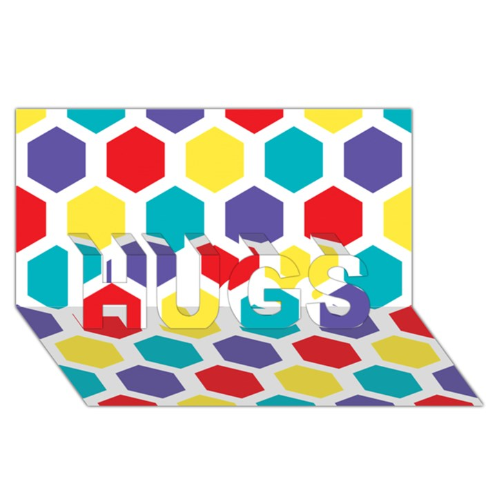 Hexagon Pattern  HUGS 3D Greeting Card (8x4)