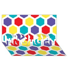 Hexagon Pattern  ENGAGED 3D Greeting Card (8x4)