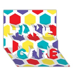 Hexagon Pattern  TAKE CARE 3D Greeting Card (7x5)