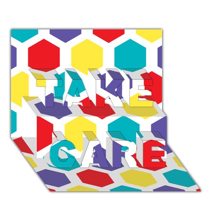 Hexagon Pattern  TAKE CARE 3D Greeting Card (7x5)