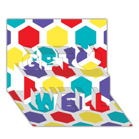 Hexagon Pattern  Get Well 3D Greeting Card (7x5)