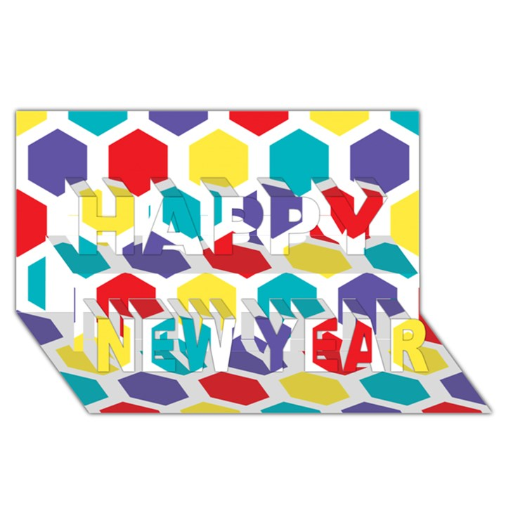 Hexagon Pattern  Happy New Year 3D Greeting Card (8x4)