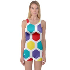 Hexagon Pattern  One Piece Boyleg Swimsuit
