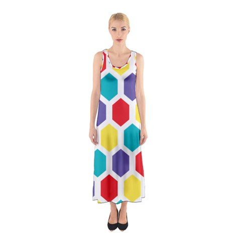 Hexagon Pattern  Sleeveless Maxi Dress