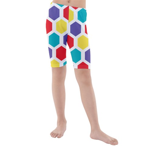 Hexagon Pattern  Kids  Mid Length Swim Shorts