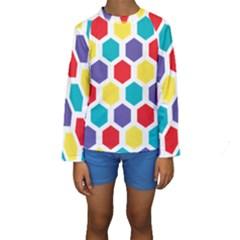 Hexagon Pattern  Kids  Long Sleeve Swimwear