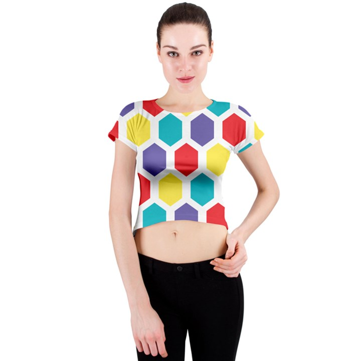 Hexagon Pattern  Crew Neck Crop Top