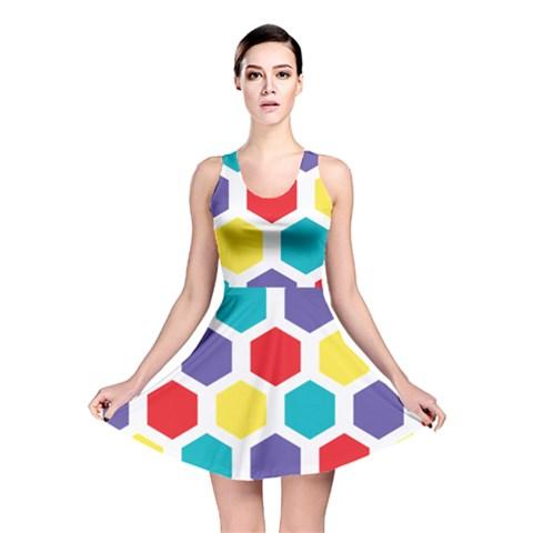 Hexagon Pattern  Reversible Skater Dress