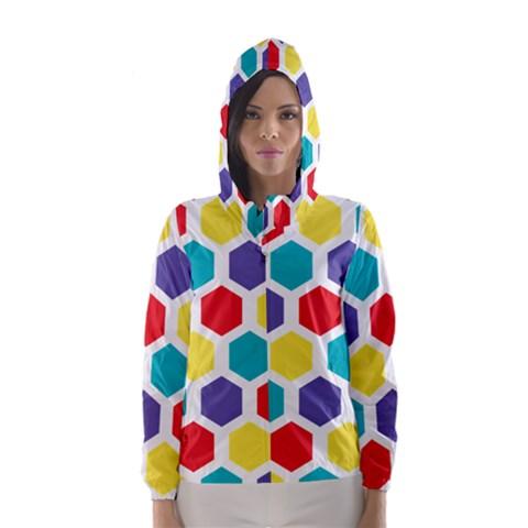 Hexagon Pattern  Hooded Wind Breaker (Women)