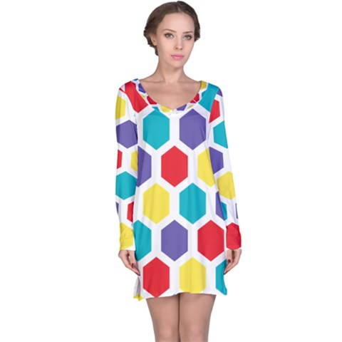 Hexagon Pattern  Long Sleeve Nightdress