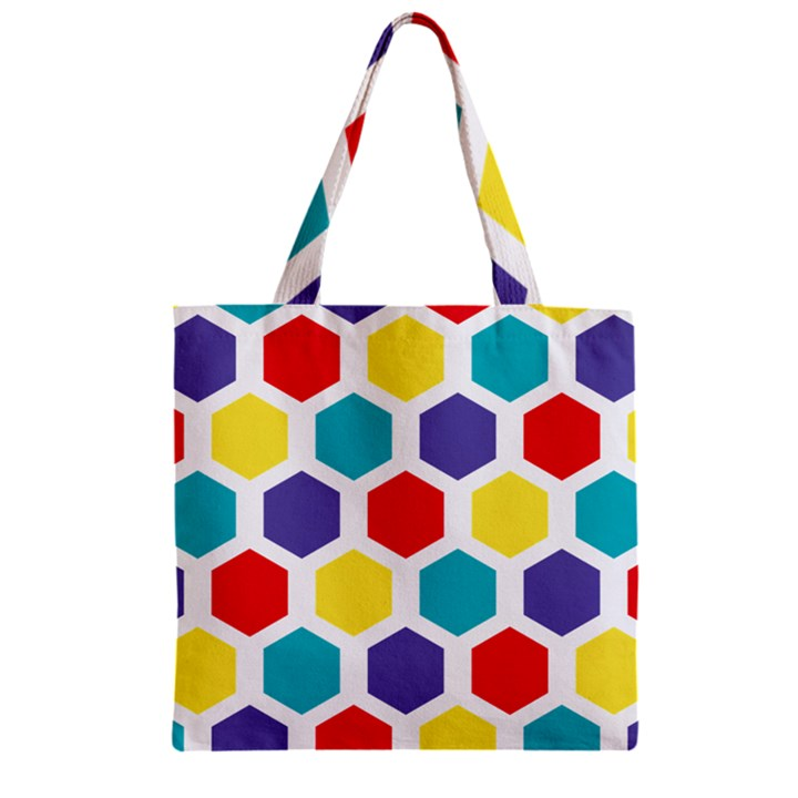Hexagon Pattern  Zipper Grocery Tote Bag