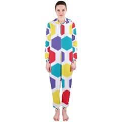Hexagon Pattern  Hooded Jumpsuit (Ladies)