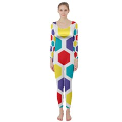 Hexagon Pattern  Long Sleeve Catsuit