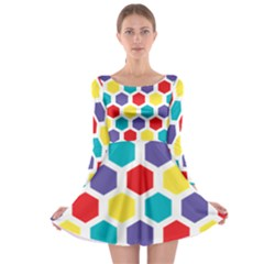 Hexagon Pattern  Long Sleeve Skater Dress