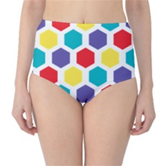 Hexagon Pattern  High-Waist Bikini Bottoms