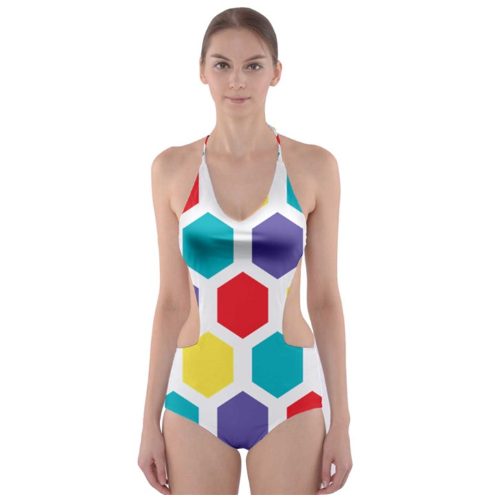 Hexagon Pattern  Cut-Out One Piece Swimsuit