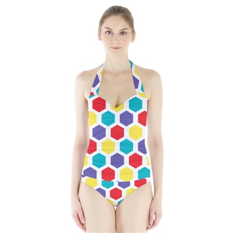 Hexagon Pattern  Halter Swimsuit