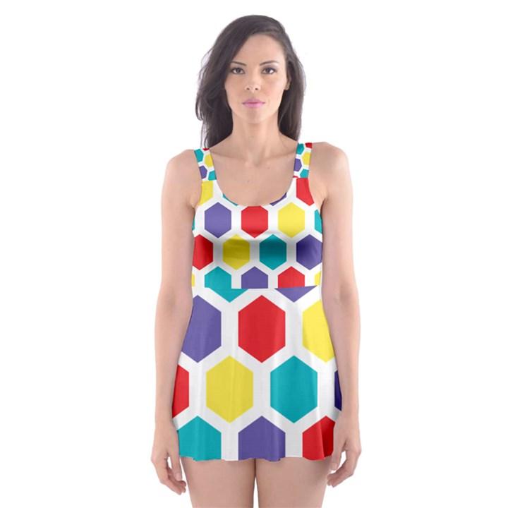 Hexagon Pattern  Skater Dress Swimsuit