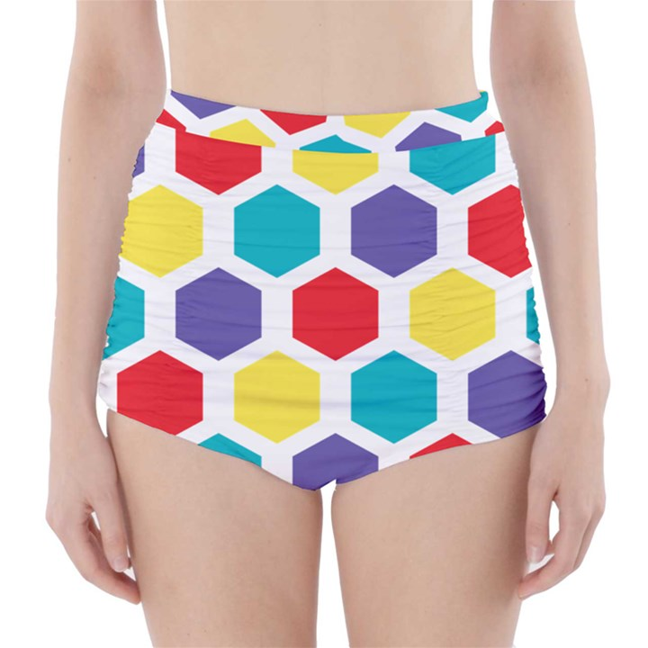 Hexagon Pattern  High-Waisted Bikini Bottoms