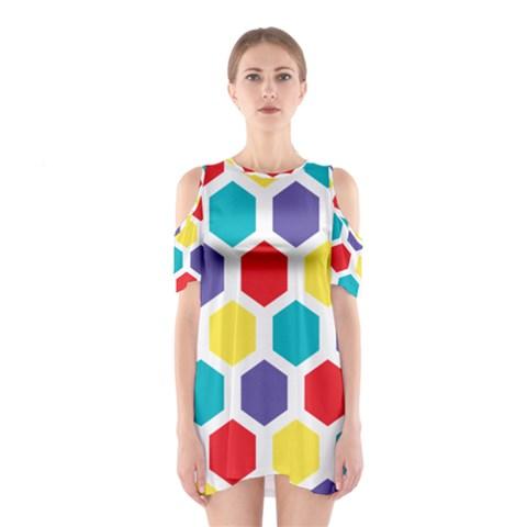 Hexagon Pattern  Cutout Shoulder Dress